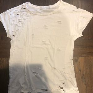 Alternative Apparel - white T-shirt with rips - xs